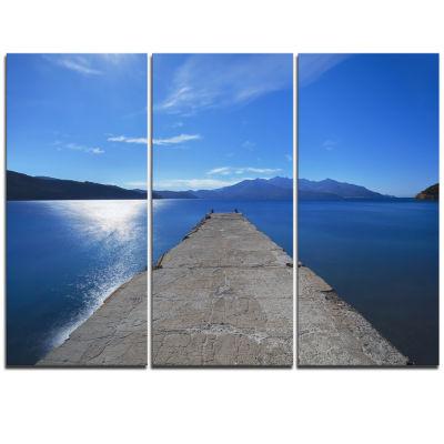 Designart Elba Island Pier And Capanne Mountain Oversized Landscape Wall Art Print