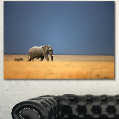 Designart Elephant And Zebra Walking In Bush African Canvas Art Print - 3 Panels