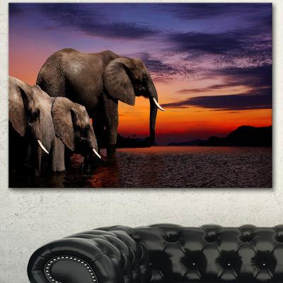 Designart Elephant At Watering In Africa AfricanCanvas Art Print - 3 Panels