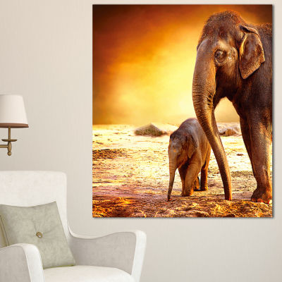 Designart Elephant Mother And Baby Outdoors African Canvas Art Print - 3 Panels