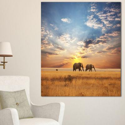 Designart Elephants Walking Along River Bank Animal Canvas Art Print - 3 Panels