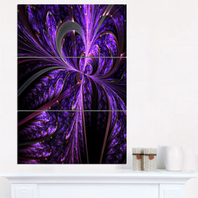 Designart Embossed Dark Purple Floral Shapes LargeFloral Wall Art Triptych Canvas