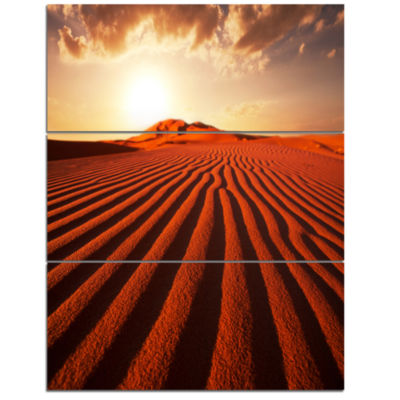 Designart Endless Brown Desert Dunes Modern Landscape Wall Art Triptych Canvas