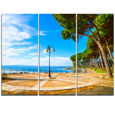 Designart Esplanade And Pine Trees In Bolsena Oversized Landscape Wall Art Print