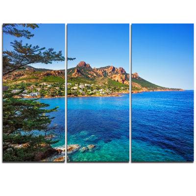 Designart Esterel Rocks Beach Coast In Blue ExtraLarge Seashore Triptych Canvas Art