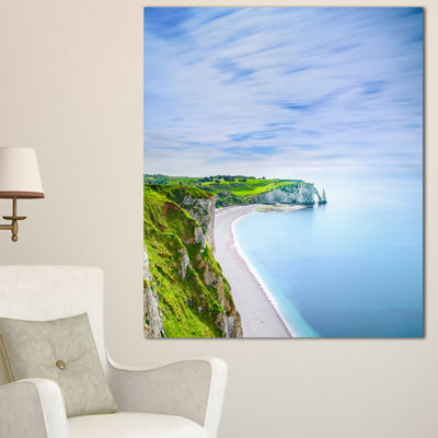 Designart Etretat Aval Cliff And Rocks Normandy Beach Photo Canvas Print - 3 Panels