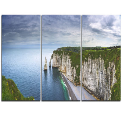 Designart Etretat Aval Cliff And Rocks OversizedBeach Triptych Canvas Artwork