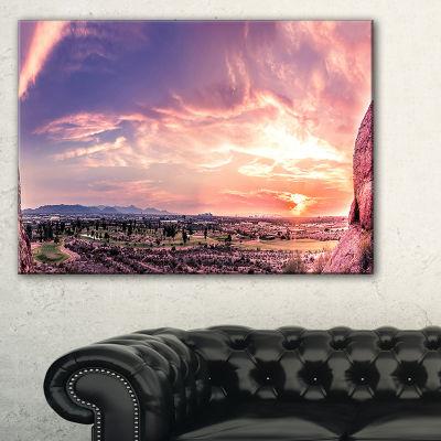Designart Evening Red Sky Over Phoenix Arizona Landscape Artwork Canvas
