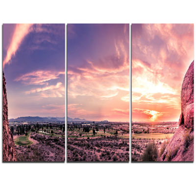 Designart Evening Red Sky Over Phoenix Arizona Landscape Artwork Triptych Canvas