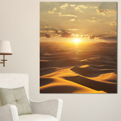 Designart Evening Sahara Desert With Sunlight Oversized Landscape Canvas Art - 3 Panels