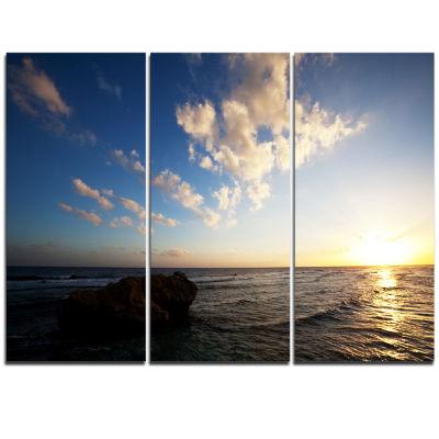 Designart Evening Sea After Heavy Storm Modern Beach Triptych Canvas Art Print