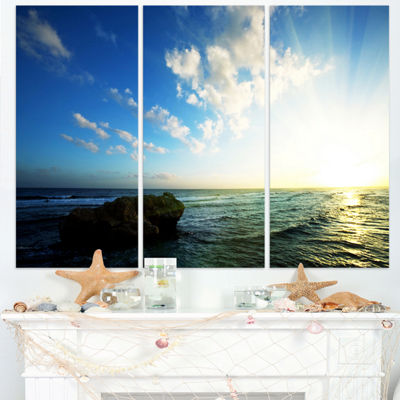 Designart Evening Sea With Calm Waters Modern Beach Triptych Canvas Art Print