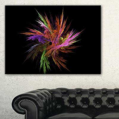 Designart Excitingly Colorful Fractal Flower Floral Canvas Art Print