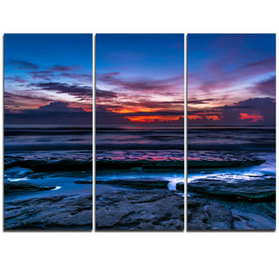 Designart Exotic Dark Blue Coquina Dawn Beach Photo Triptych Canvas Print