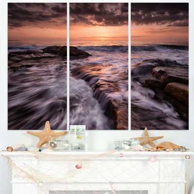 Designart Exotic Flow Of Waters Over Rocks Seashore Triptych Canvas Art Print