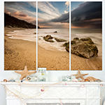 Designart Exotic Seashore With White Waves Beach Photo Triptych Canvas Print