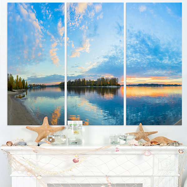 Designart Exotic Sunrise On River Autumn OversizedBeach Triptych Canvas Artwork