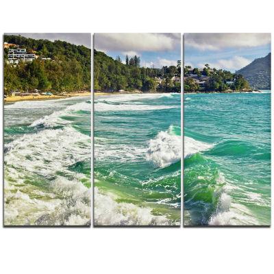 Designart Exotic Tropical Beach Blue Waters Oversized Beach Triptych Canvas Artwork