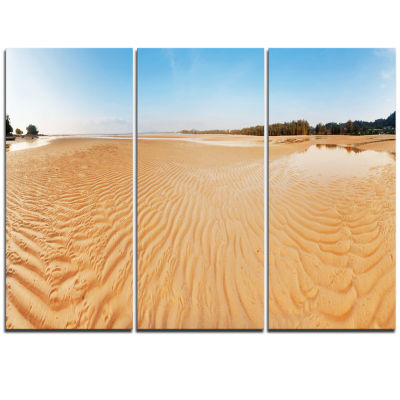 Designart Exotic Tropical Beach Panorama Modern Seascape Triptych Canvas Artwork
