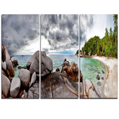 Designart Exotic Tropical Beach Under Blue Sky Modern Seascape Triptych Canvas Artwork