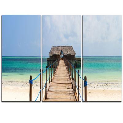 Designart Exotic Wood Jetty At Zanzibar Island Wooden Sea Bridge Triptych Canvas Wall Art