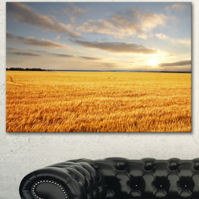 Designart Expansive Brown Field Landscape Canvas Art Print