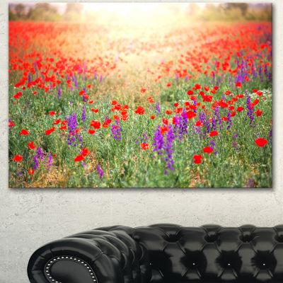 Designart Expansive Poppy Field At Sunset Floral Canvas Art Print - 3 Panels