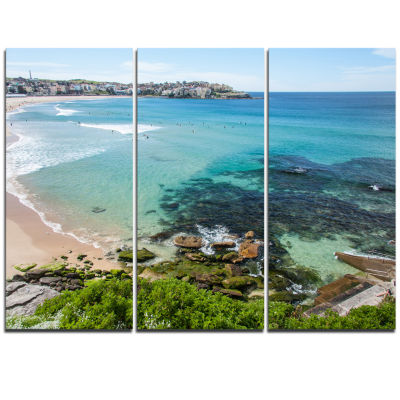 Designart Expansive Sydney Bondi Beach Large Seashore Triptych Canvas Print