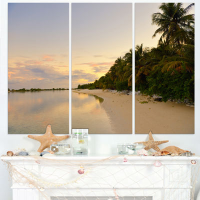 Designart Expansive Tropical Beach Evening ModernSeascape Triptych Canvas Artwork
