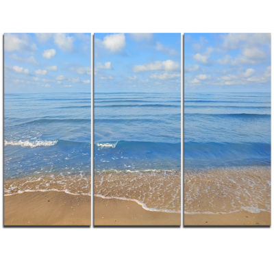 Designart Expansive Tropical Blue Beach Large Seashore Triptych Canvas Print