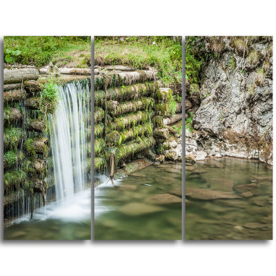Designart Fabulous Man Made Waterfall Landscape Triptych Canvas Art Print