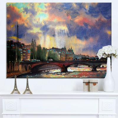 Designart Fabulous Paris City Watercolor Large Photography Canvas Art