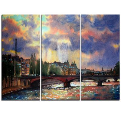 Designart Fabulous Paris City Watercolor Large Photography Triptych Canvas Art