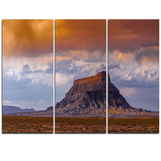 Designart Factory Buttle Utah Panorama Landscape Artwork Triptych Canvas