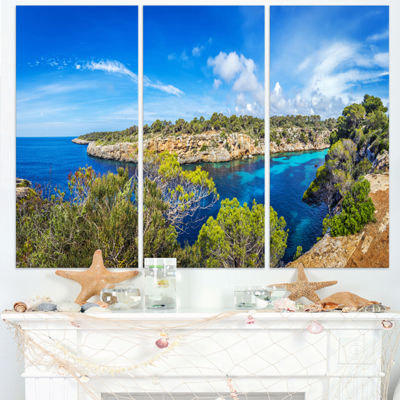 Designart Famous Cove Of Cala Pi Mallorca Large Seascape Art Triptych Canvas Print