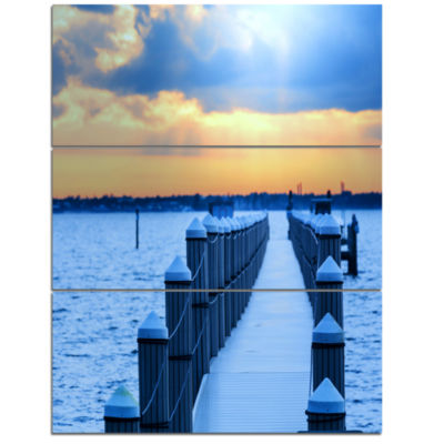 Design Art Fantastic Blue Boardwalk And Seashore Bridge Triptych Canvas Art Print