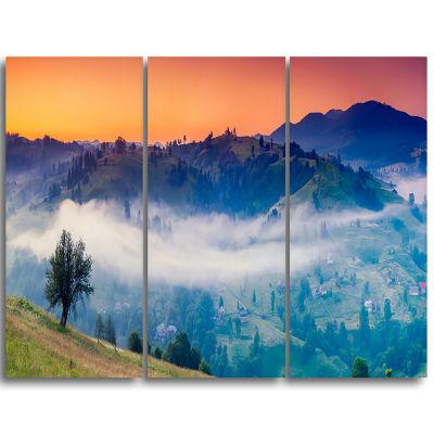 Designart Fantastic Blue Mountains Panorama Landscape Triptych Canvas Art Print