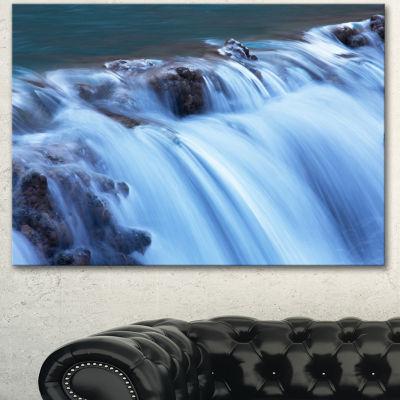 Designart Fantastic Blue Water Cascade Extra LargeLandscape Canvas Art - 3 Panels