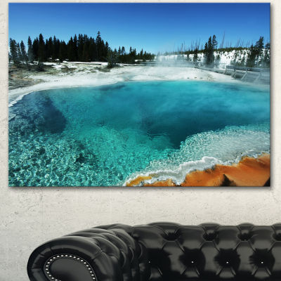 Designart Fantastic Blue Yellowstone Lake Landscape Wall Art On Canvas - 3 Panels