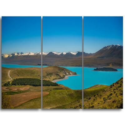 Designart Fantastic Calm Landscape Of New ZealandLandscape Triptych Canvas Art Print