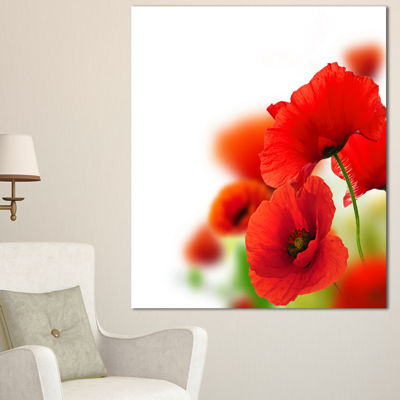 Designart Fantastic Poppy Flowers On White FloralCanvas Art Print - 3 Panels