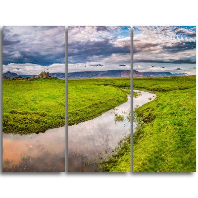 Designart Fantastic River On Mountains Iceland Landscape Print Wall Artwork