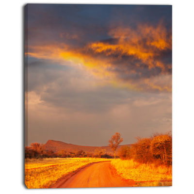 Designart Fantastic Road And Sky In Kenya Oversized Landscape Canvas Art