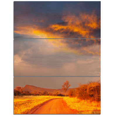 Designart Fantastic Road And Sky In Kenya Oversized Landscape Canvas Art - 3 Panels