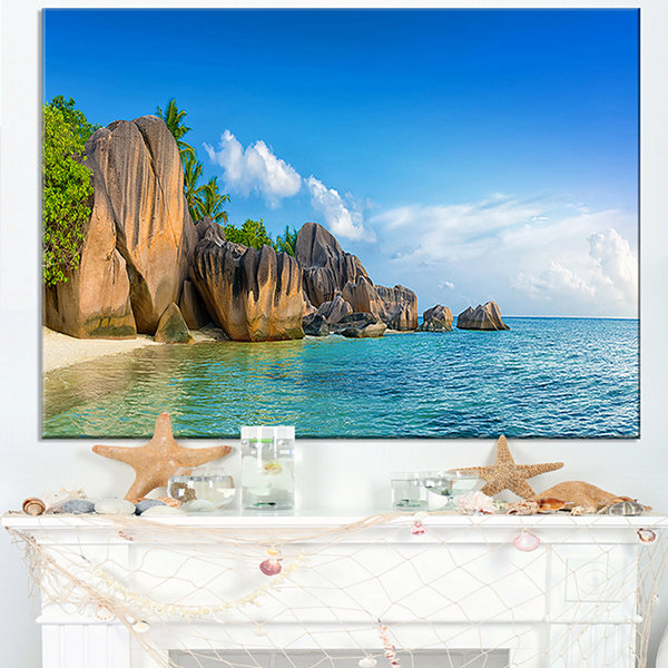 Design Art Fantastic Seychelles Seashore Large Seascape Art Canvas Print