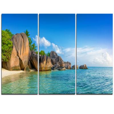 Designart Fantastic Seychelles Seashore Large Seascape Art Triptych Canvas Print