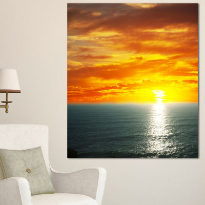 Designart Fantastic Sunset Over Sea Waters Large Seashore Canvas Print - 3 Panels