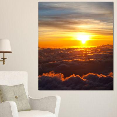 Designart Fantastic Sunset Sky And Clouds Oversized Landscape Canvas Art - 3 Panels
