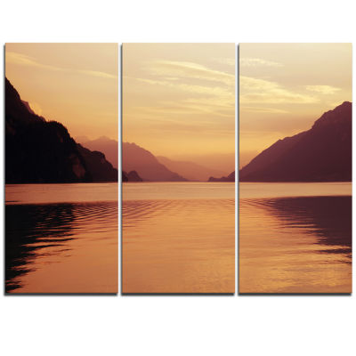 Designart Fantastic Swiss Lake At Sunset In BrienzExtra Large Seascape Art Triptych Canvas