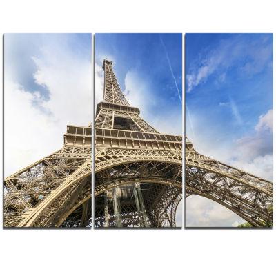 Design Art Fantastic View Of Paris Paris Eiffel Towerfrom Ground Cityscape Triptych Canvas Print